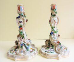 Pair Antique Meissen Porcelain Candlesticks Marks c.1740-50