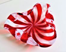 Murano Latticino Ribbon Glass Dish