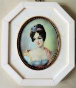 Antique Miniature Portrait Regency Aristocratic Lady