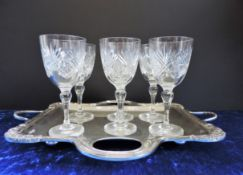 Vintage Cut Crystal and Silver Plate Drinks Set