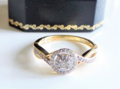 Diamond Ring Gold on Sterling Silver