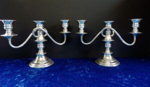 Pair Antique Georgian Style Silver Plate Candelabra