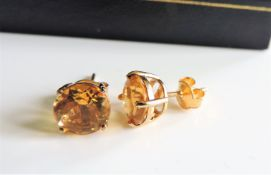 4ct Citrine Gold on Sterling Silver Stud Earrings New with Gift Box