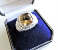 Vintage Gents 6ct Citrine Sterling Silver Signet Ring 10.8grams