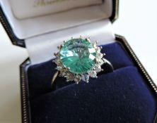 Sterling Silver Gemstone Ring Size R1/2