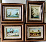 A Set of Four Framed Oils on Board, Frame Size 32 x 27cm