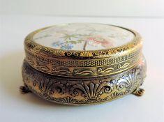 Vintage Petit Point Embroidered Trinket Box