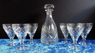 Vintage Crystal Decanter and 6 Wine Glasses