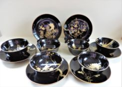 Vintage Japanese Hand Painted Lacquer Bowls and Plates