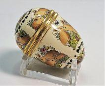 Halcyon Days Enamel Rabbit Egg Screw Trinket Box with Stand