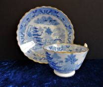 Antique Blue & White Chinoiserie Tea Cup and Saucer