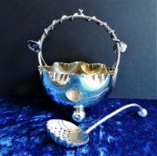 Antique Art Nouveau Silver Plate Preserve Dish & Spoon