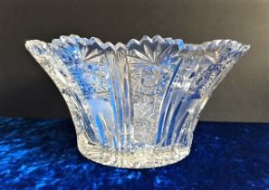 Large Bohemian Crystal Bowl 26cm wide