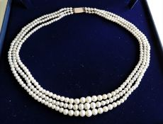 Vintage Three Strand Pearl Necklace 9k Gold Clasp