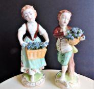 Pair of Antique Dresden Porcelain Figurines c.1890's