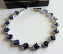 Sterling Silver 12ct London Blue Topaz Bracelet New with Gift Box