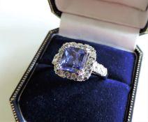 Sterling Silver Tanzanite Ring Size O1/2