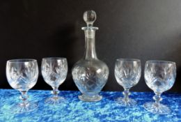 Vintage Crystal Decanter and Wine Glasses
