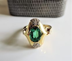 David Morris Emerald & Diamond Ring 1ct Emerald 24 Diamonds 18k Gold