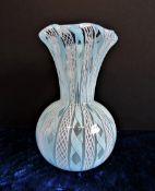 Murano Zandfirico Latticino Glass Vase