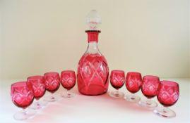 Antique Art Nouveau French 'Nancy' Ruby Glass Drinks Set