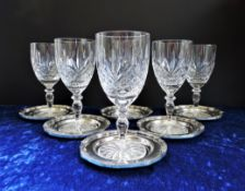 Vintage Cut Crystal Wine Glasses and Silver Plate Coasters Set of 6