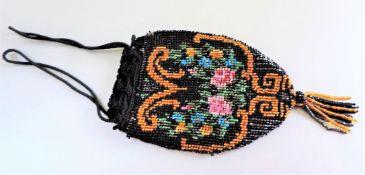 1920's Art Deco Vintage Beaded Drawstring Evening Bag