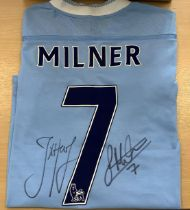Manchester City Football Shirt Signed By James Milner & Joe Hart