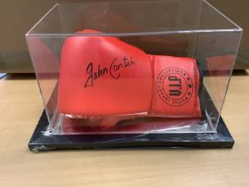 John Conteh Signed Boxing Glove In Acrylic Box