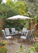 (15) 1x Rowly 8 Piece Garden Set. 6x Reclining Metal Chairs (No Cushions In Lot). 1x Toughened Glas