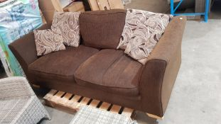 (16) 1x Brown Sofa With 1x Brown Back Cushion & 4x Brown Patterned Cushions. (Used Condition). (W20
