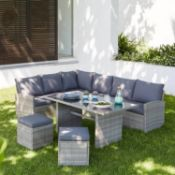 1x Matara Corner Sofa Dining Set RRP £645. Contents Appear As New (But Unit Has Very Small Damage T