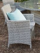 (15) 2x Hartington Florence Collection Rattan Dining Chair With 2x Cushions. (1x In Original Packag