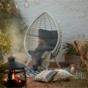 (4I) 1x Rattan Pod Chair White With 1x Cushion RRP £150. Unit Built – Assume Ex Display. Unit Appea