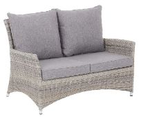 (15) 1x Hartington Florence Collection 2 Seater Rattan Sofa With 4x Cushions. Unit Still In Origina