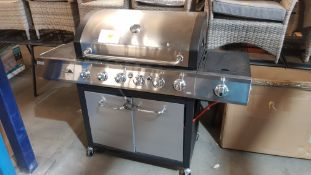 (R15) 1x Texas Stardom 6 Burner gas BBQ RRP £350. Stainless Steel Hood & Control Panel. Temperature