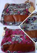2 x HT Fashion London Ladies 4-Colour Skull Crossbody Shoulder Bag (APRICOT)