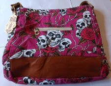 2 x HT Fashion London Ladies 4-Colour Skull Crossbody Shoulder Bag (PLUM)