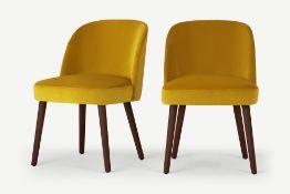 Swinton Dining Chairs, Saffron Yellow Velvet and Dark Stain (Set of 2)