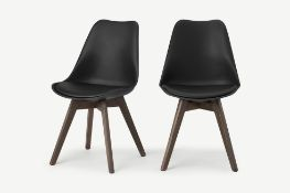 Deon Set of 2 Dining Chairs, Dark Oak Stain and Black Legs (Box Opened)