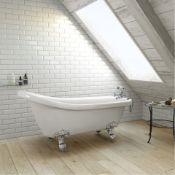 New (H3) 1530mm Traditional Roll Top Slipper Bath - Chrome Feet. RRP £999.99.Bath Manufactur...