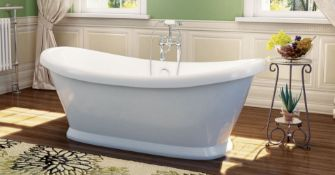 New (H7) Grace 1760x700mm Freestanding 2 Tap Hole Bath With Panel. RRP £1,475.96.Featuring...