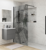 New (T17) Black Leaf Wet Room Glass Panel - 1200mm. RRP £775.99.Make A Real Style Statement W...