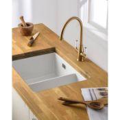 New (J34) Abode Sandon Large 1.5 Bowl Ceramic Kitchen Sink. RRP £434.00. Undermount Or Inset F...