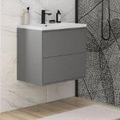 New (J71) Perla 600mm 2 Drawer Wall Hung Vanity Unit Matt Grey. RRP £416.15. The Beautiful Si...