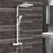 New (J16) Synergy Square Thermostatic Bar Mixer Shower With Shower Kit And Fixed Head - Chrome....