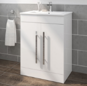 New Boxed 600mm Trent Gloss White Sink Cabinet - Floor Standing. RRP £499.99.Comes Complete Wit...