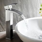 New & Boxed Tall Counter Top Basin Mixer Tap Bathroom Sink Chrome Faucet.Tb96. Chrome Plated S...