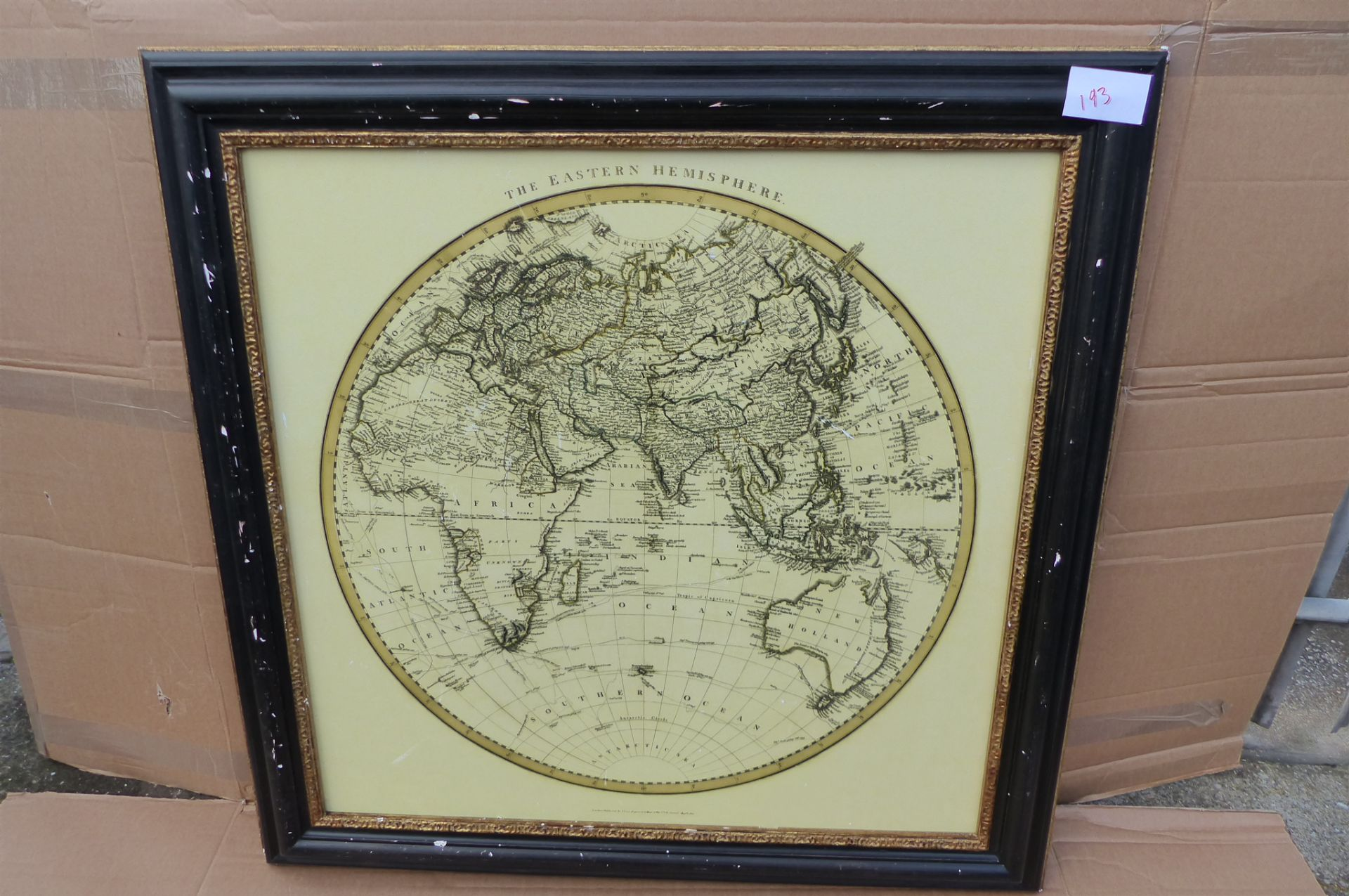 Vintage Maps Collection - Eastern Hemisphere Framed Print, 91 x 91cm *COLLECTION ONLY* SKU193