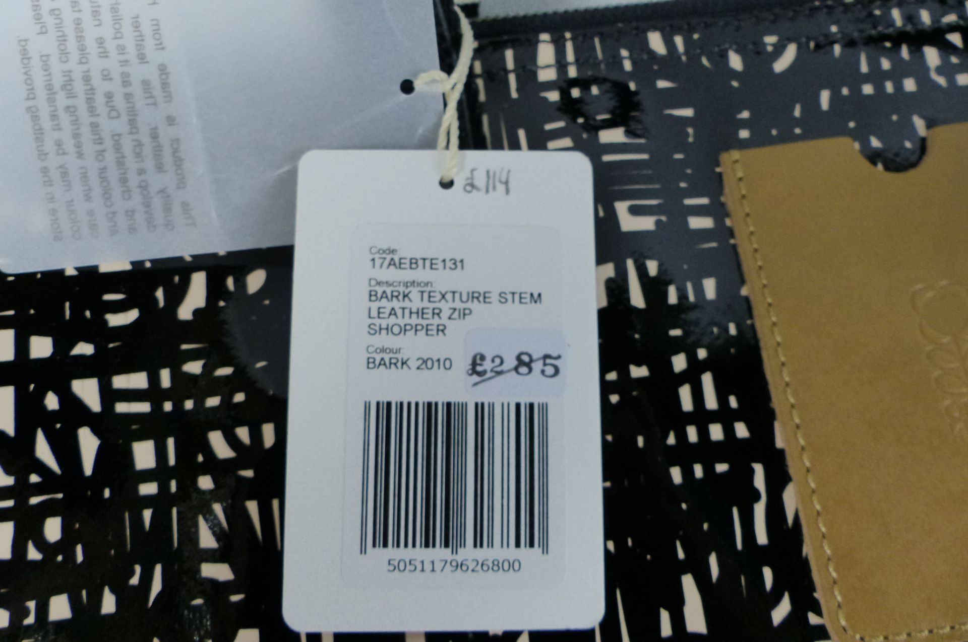 Orla Kiely Textured Bark Leather Shopper Bag Black - Image 2 of 2